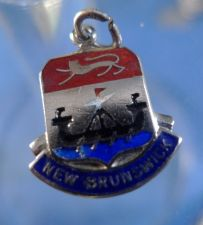 Buy NEW BRUNSWICK Enamel & Sterling Silver Travel Shield Souvenir Charm