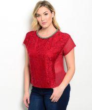 Buy PLUS SIZE XL 1XL 2XL 3XL Women Crop Top KATIA Embellished Solid Dark Red Evening