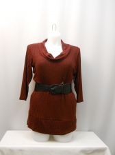 Buy Eye Candy Womens Sweater Size 3X Cowl Neck Belted Waist 3/4 Sleeve Tight Fitting