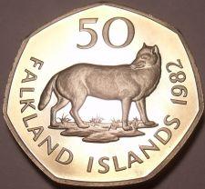 Buy Rare Huge Cameo Proof Falkland Islands 1982 50 Pence~The Extinct Fox~Free Ship