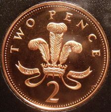 Buy Cameo Proof Great Britain 1996 2 Pence~Welsh Plume~The Mints Best Work~Free Ship