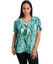 Buy Blue Note Jade/Emerald Neck Tie Button Blouse Plus Size 2X 3X