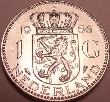 Buy Unc Silver Netherlands 1956 Gulden~Edge Incription~GOD BE WITH US~Free Shipping
