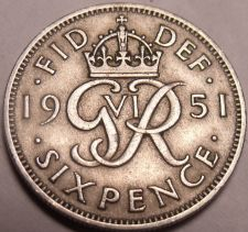 Buy Great Britain 1951 6 Pence~Great For Weddings & Getting Married~Free Shipping