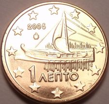 Buy Gem Unc Greece 2005 1 Euro Cent~Ancient Athenian Trireme~Minted In Athens~Fr/Shi
