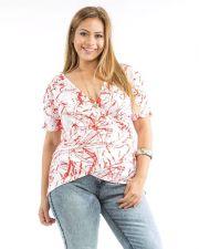 Buy PLUS SIZE 1X-3X Top Women's ROMAN Geometric Surplice Ruched Short Sleeve Necklac