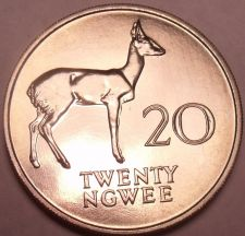Buy Rare Proof Zambia 1968 20 Ngwee~Bohor Reedbuck~Extreme Low Mintage 4,000~Fr/Ship