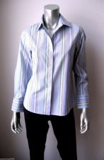Buy Talbots NEW Blue/Multi Striped Stretch Cotton Long Sleeve Button Down Shirt 4 PR