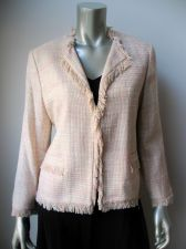Buy Josephine Chaus NEW Peach Lined Silk Long Sleeves 1-Hook Open Front Blazer 8 PR