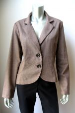 Buy Studio 1940 NEW Brown Textured Unlined Ruffle Back Long Sleeve 2-Button Blazer L