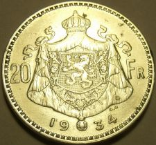 Buy EXTREMELY RARE DOUBLING ERROR SILVER BELGIUM 1934 20 FRANCS~AWESOME~FREE SHIP~