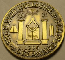 Buy Large 38.1mm Solid Bronze Grand Lodge Of Delaware Masonic Medallion~Free Ship
