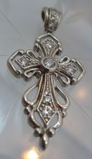 Buy Cubic Zirconia CZ Cross Pendant Sterling 925 Silver from R China NWOT