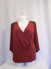 Buy PLUS SIZE 3X Womens Knit Top AGB Burgundy 3/4 Sleeves Faux Leather Shoulder Trim