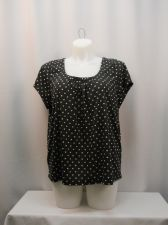 Buy Top Plus Size 1X Debbie Morgan Women's Knit Black Polka Dot Pleated Scoop Neck