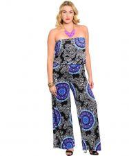 Buy H.B.G.B. Paisley Blue/Purple Multi Color Strapless Jumpsuit Plus Size 1X-2X-3X