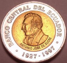 Buy Gem Unc Bi-Metal Ecuador 1997 100 Sucres~70th Anniversary Of Central Bank~Fr/Shi