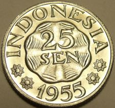 Buy Gem Unc Indonesia 1955 25 Sen~1st Year Minted~Excellent~Free Shipping