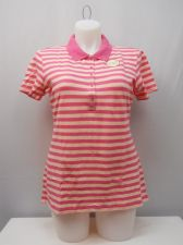 Buy Faded Glory Women's Activewear Polo Shirt Size 20 Striped Pink Short Sleeves