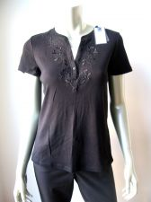 Buy Croft & Barrow NEW Blk Cotton Embroidery Short Sleeves Pull Over Top Shirt PM PR