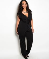 Buy H.B.G.B. Black Wrap Front Lace Cap Sleeves Straight Legs Jumpsuit Size 1X-3X