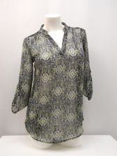 Buy SIZE S Womens Top NO BOUNDARIES Geo 3/4 Sleeve Lace Yoke Mandarin Collar Sheer