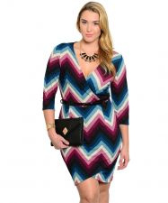 Buy Janette Plus Brown/Purple Chevron Belted 3/4 Sleeves Dress Plus Size 1XL-3XL