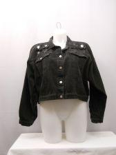 Buy Stefano Women's Denim Jacket Size 26/28 Black Vintage Long Sleeves Collar Neck