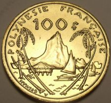 Buy Rare Large Gem Unc French Polynesia 2003 100 Francs~200k Minted~Moorea Harbor~FS