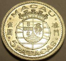 Buy Huge Rare Gem Unc Silver Macau 1952 5 Patacas~Portuguese Shield~Only Year~Fr/Shi