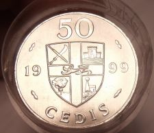 Buy Gem Unc Roll (20 Coins) Large Ghana 1999 50 Cedis Coins~Double Drums~Free Ship~