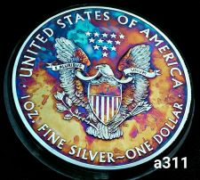 Buy 2015 Rainbow Monster Toned Silver American Eagle 1oz fine with velvet case #a311