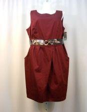 Buy AGB Women's Sheath Dress Plus Size 24W Burgundy Sleeveless Scoop Neck Belted