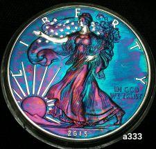 Buy High Grade Rainbow Toned Silver American Eagle 1oz fine silver uncirc. #a333
