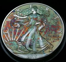 Buy 2015 Rainbow Toned Silver American Eagle 1 ounce fine silver uncirculated #a286
