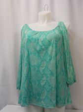 Buy PLUS SIZE 3X Women's Top INC Green Animal Print Cold Shoulders Quarter Sleeves
