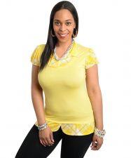 Buy Janette Plus Yellow 1 Piece Layered Look Blouse &Vest Jr Plus Size 1xL-3xL