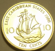 Buy Rare Proof East Caribbean States 1986 10 Cents~2,500 Minted~The Golden Hind~Fr/S