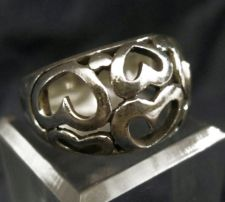 Buy sz 8.5 RING : STERLING SILVER CUT OUT HEARTS RING - SIGNED SP