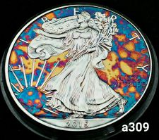 Buy High Grade Rainbow Toned Silver American Eagle 1oz fine silver uncirc. #a309