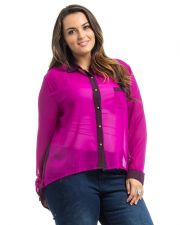 Buy Roman Multi Color Long Sleeves Collared Sheer Chiffon Button Shirt Size 1X-3X