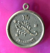 Buy vintage SCORPIO charm BEAU STERLING 925 SILVER ZODIAC HOROSCOPE ASTROLOGY