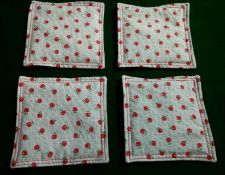 Buy Drink Coasters set of 4 apples print 100% Cotton fabric Handmade