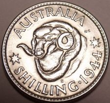 Buy Gem Unc Silver Australia 1944-S Shilling~Rams Head~Awesome~Free Shipping