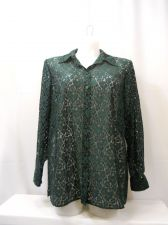 Buy PLUS SIZE 14W Lace Button Shirt CHARTER CLUB Solid Emerald Green Long Sleeves