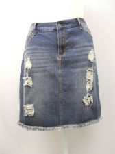 Buy Women's Jean Skirt Plus Size 1X IRIS JEANS Distressed Denim Above Knee Length