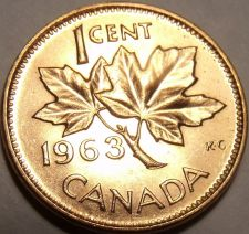 Buy Canada 1963 Gem Uncirculated Cent~Queen Elizabeth The II~Free Shipping