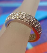 Buy sz 6 Ring : Vintage Sterling Silver Pave Cubic Zirconia Wedding Band signed CWE-