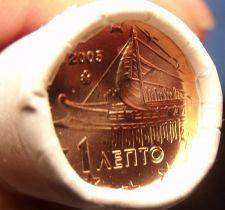 Buy Gem Unc Original Roll (50) Greece 2005 1 Euro Cents~Ancient Athenian Trireme~F/S