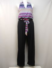 Buy Shelby & Palmer Jumpsuit Size XL Navy V-Neck Sleeveless Wide Leg Belt Pockets